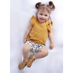 Warm yellow ruffle top